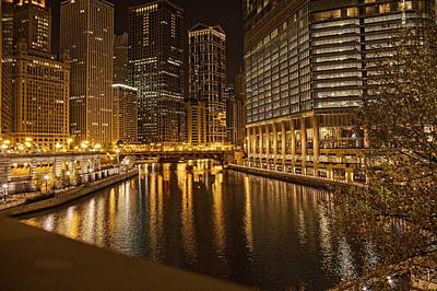 Photograph - Chicago At Night by Daniel Sheldon