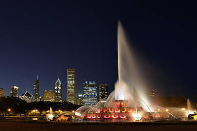 Photograph - Chicago At Night by Dlewis33