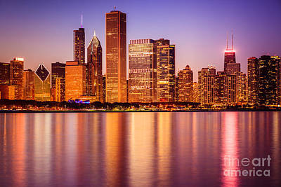 Movies Star Paintings - Chicago at Night Downtown City Lakefront by Paul Velgos