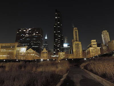 City Photograph - Chicago At Night From A Field by Cityscape Photography
