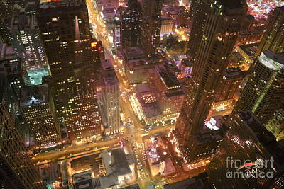 Hancock Building Digital Art - Chicago At Night by Ruta Naujokiene