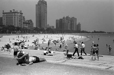 Public Bathing Photograph - Chicago Beach, 1941 by Granger