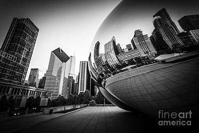 Millennium Park Photograph - Chicago Bean Cloud Gate In Black And White by Paul Velgos