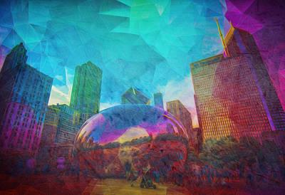 Chicago Bean Skyline Illinois Digital Paint Art Print by David Haskett