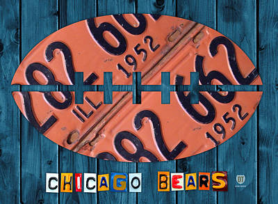 Chicago Wall Art - Mixed Media - Chicago Bears Football Recycled License Plate Art by Design Turnpike