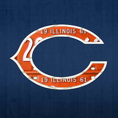City Scenes Mixed Media - Chicago Bears Football Team Retro Logo Illinois License Plate Art by Design Turnpike