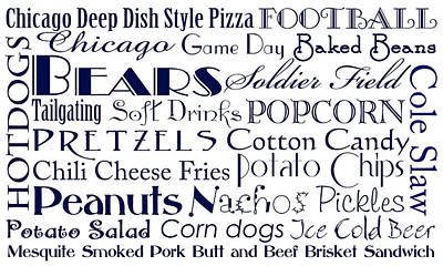 Digital Art - Chicago Bears Game Day Food 1 by Andee Design