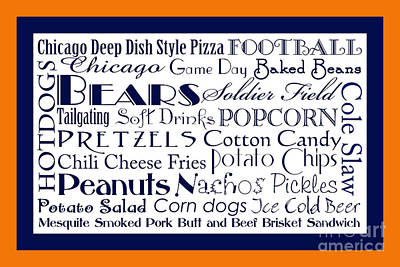 Digital Art - Chicago Bears Game Day Food 2 by Andee Design