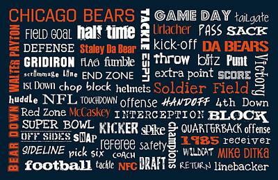 Soldier Field Digital Art - Chicago Bears by Jaime Friedman