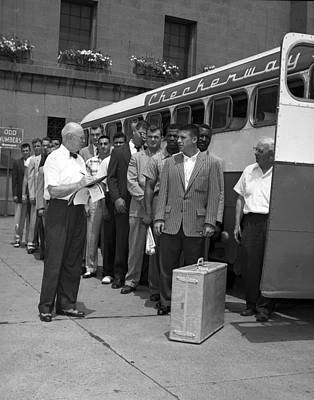 Bus Photograph - Chicago Bears Players Board Charter Bus by Retro Images Archive