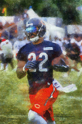 Chicago Bears Rb Matt Forte Training Camp 2014 Photo Art 02 Print by Thomas Woolworth