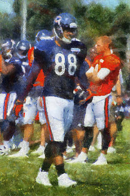 Chicago Bears Te Dante Rosario Training Camp 2014 Photo Art 02 Art Print by Thomas Woolworth