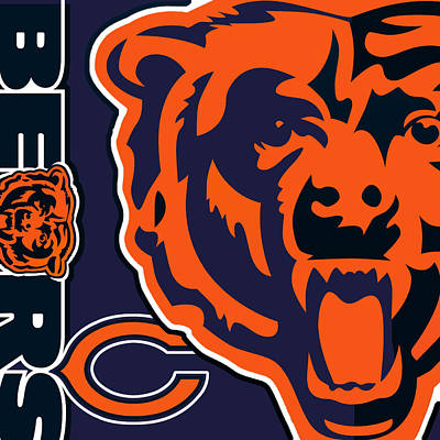 Sports Paintings - Chicago Bears by Tony Rubino