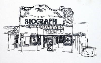 Drawing - Chicago Biograph Theater by Robert Birkenes