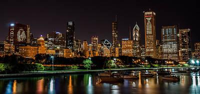 Night Hawk Wall Art - Photograph - Chicago Black Hawks Skyline by Christopher Broste
