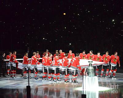 Photograph - Chicago Blackhawks And The Banner by Melissa Goodrich
