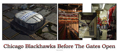 Photograph - Chicago Blackhawks Before The Gates Open Interior 2 Panel White 02 by Thomas Woolworth