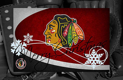 Hockey Photograph - Chicago Blackhawks Christmas by Joe Hamilton