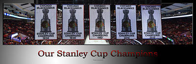 Photograph - Chicago Blackhawks Our Stanley Cup Champions Banners Sb by Thomas Woolworth