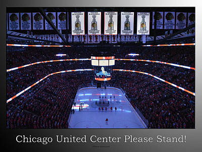 Photograph - Chicago Blackhawks Please Stand Up With White Text Sb by Thomas Woolworth
