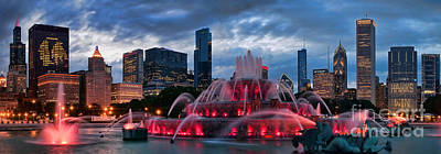 Fountain Photograph - Chicago Blackhawks Skyline by Jeff Lewis
