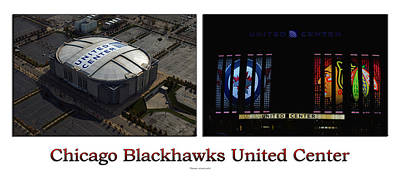 Photograph - Chicago Blackhawks United Center 2 Panel White Signage by Thomas Woolworth