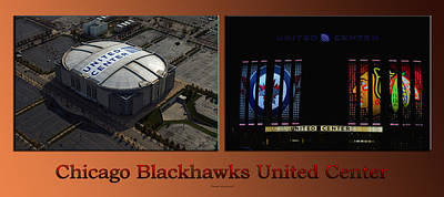 Photograph - Chicago Blackhawks United Center Signage 2 Panel Tan by Thomas Woolworth