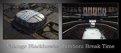 Zamboni Photograph - Chicago Blackhawks Zamboni Break Time 2 Panel Sb by Thomas Woolworth