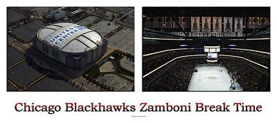 Zamboni Photograph - Chicago Blackhawks Zamboni Break Time 2 Panel White by Thomas Woolworth