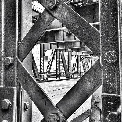 Hdr Photograph - Chicago Bridge Iron In Black And White by Paul Velgos