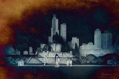 Digital Art - Chicago Buckingham Fountain Northside Textured by Thomas Woolworth
