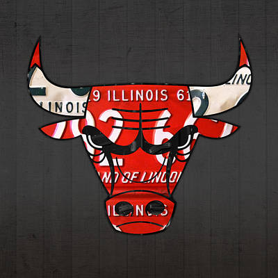 City Scenes Mixed Media - Chicago Bulls Basketball Team Retro Logo Vintage Recycled Illinois License Plate Art by Design Turnpike