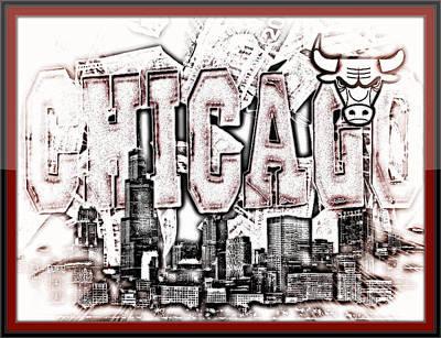 Chicago Skyline Mixed Media - Chicago Bulls Skyline by Tyron Davis