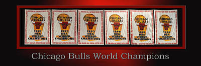 Chicago Bulls World Champions Banners Art Print by Thomas Woolworth