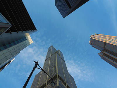 City Photograph - Chicago Business District With Willis Towers by Cityscape Photography