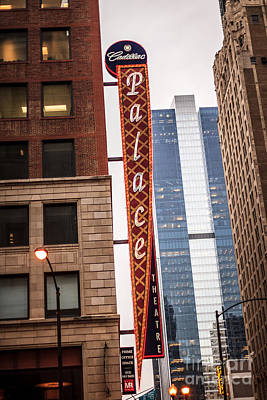 Chicago Loop Photograph - Chicago Cadillac Palace Theatre Sign by Paul Velgos