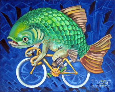 Fixie Painting - Chicago Carp by Ellen Marcus