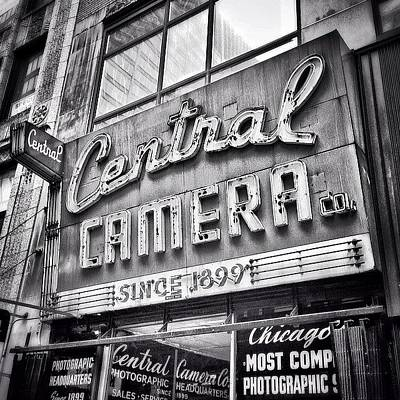 Buildings Photograph - Chicago Central Camera Sign Picture by Paul Velgos