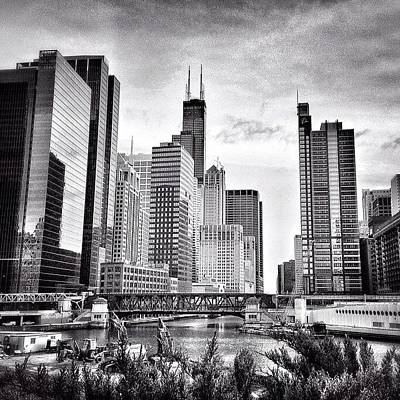 Water Photograph - Chicago River Buildings Black And White Photo by Paul Velgos