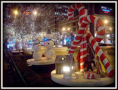 Chicago Christmas Candy Canes Art Print