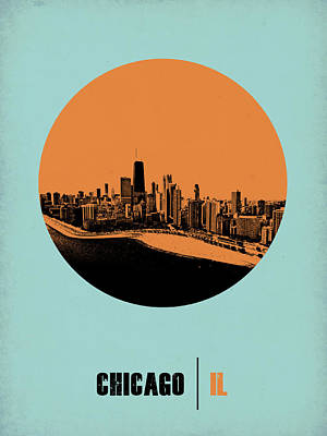City Digital Art - Chicago Circle Poster 2 by Naxart Studio