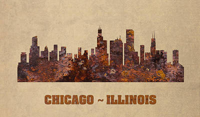 Chicago Skyline Mixed Media - Chicago City Skyline Rusty Metal Shape On Canvas by Design Turnpike