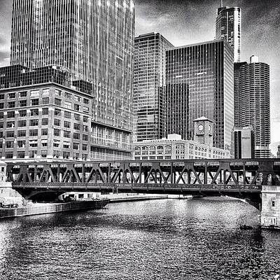 Water Photograph - Wells Street Bridge Chicago Hdr Photo by Paul Velgos