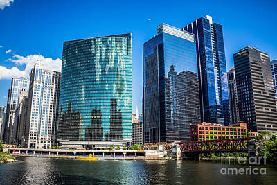 With Photograph - Chicago Cityscape Downtown City Buildings by Paul Velgos