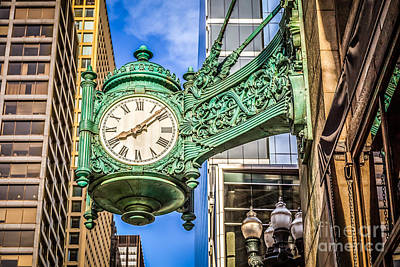 Chicago Clock Hdr Photo Art Print by Paul Velgos