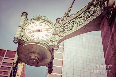 Chicago Clock Vintage Photo Art Print by Paul Velgos