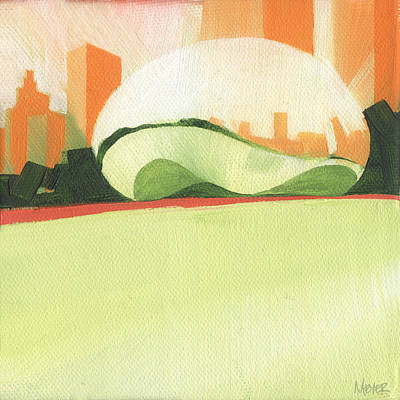 Sears Tower Painting - Chicago Cloud Gate 78 Of 100 by W Michael Meyer