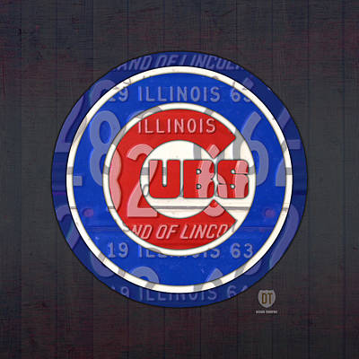 City Scenes Mixed Media - Chicago Cubs Baseball Team Retro Vintage Logo License Plate Art by Design Turnpike
