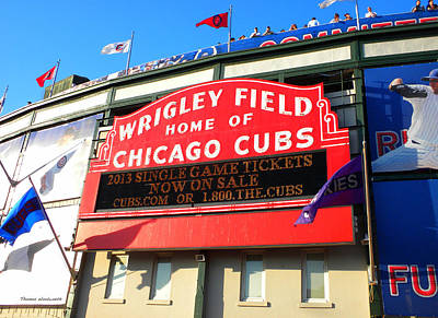 Wrigley Field Mixed Media - Chicago Cubs Marquee Sign by Thomas Woolworth