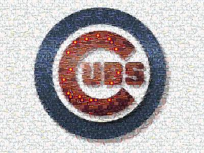 Chicago Cubs Mosaic Art Print by David Bearden